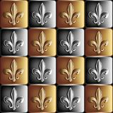 Gold and silver seamless pattern the royal lily Royalty Free Stock Image