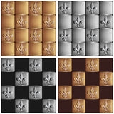 Gold and silver seamless patterns royal lily set Stock Photo