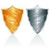 Gold and silver shield Royalty Free Stock Photos