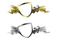 Gold and silver shields Royalty Free Stock Images