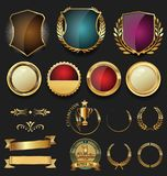 Gold and silver shields laurel wreaths and badges collection. Vector Vector Illustration