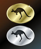 Gold and Silver sign with kangaroo Stock Photo