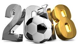 2018 gold silver soccer football ball 3d render Royalty Free Stock Image