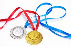 Gold and silver sport medals Stock Photos