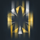 Gold and silver star with blur effect. Award 3d icon. Metallic l. Ogotype template. Volume Vector illustration Stock Images