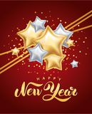 Gold silver star Happy New Year. Greeting card, invitation, background, event. Christmas banner with text, Party invitation, celebration. Logo new year 2018 Stock Photography