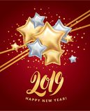Gold silver star Happy New Year. Gold star Happy New Year greeting card, invitation, background, event. Christmas banner with text, Party invitation, celebration Stock Image