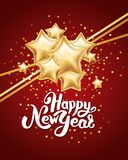 Gold silver star Happy New Year. Gold star Happy New Year greeting card, invitation, background, event. Christmas banner with text, Party invitation, celebration Stock Photo