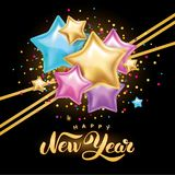 Gold silver star Happy New Year Royalty Free Stock Image