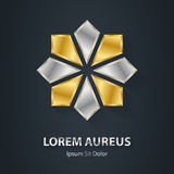 Gold and Silver star logo. Award 3d icon. Metallic logotype temp Royalty Free Stock Photography