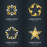 Gold and Silver star logo set. Award 3d icon. Metallic logotype. Template. Volume Vector illustration Stock Photography