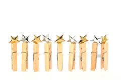 Gold and silver stars isolated Royalty Free Stock Photo