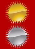 Gold and silver sun symbol Stock Image