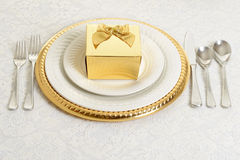 Gold and silver table setting Royalty Free Stock Image