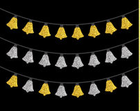 Gold and silver textured Christmas lights set. Isolated realistic luminous garland design elements. Glowing lights for Xmas Holiday greeting card. Garlands Royalty Free Stock Photography