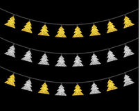 Gold and silver textured Christmas lights set. Isolated realistic luminous garland design elements. Glowing lights for Xmas Holiday greeting card. Garlands Royalty Free Stock Photos