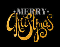 Gold and silver textured text Merry Christmas Stock Images