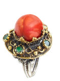 Gold and silver Turkish Ottoman ring with coral Royalty Free Stock Image