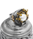 Gold and silver  Turkish Ottoman ring with pearl Royalty Free Stock Image