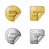 Gold and silver vector sticker set on a white Stock Image
