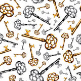 Gold and silver vintage keys on white background Stock Photos