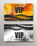 Gold and silver VIP cards with abstract background Stock Images