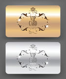 Gold and silver VIP cards  Royalty Free Stock Photography