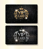 Gold and silver VIP cards with floral design elements and crown Stock Photo