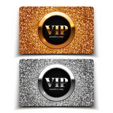 Gold and silver VIP cards with glitter Royalty Free Stock Images