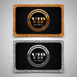 Gold and silver VIP premium member cards with glitter Royalty Free Stock Photography