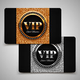 Gold and silver VIP premium member cards with glitter Stock Images