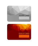 Gold and silver VIP premium member cards in polygonal style, gift, voucher, certificate Royalty Free Stock Photos