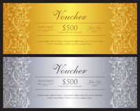 Gold and silver voucher with ornamental floral pat Royalty Free Stock Image
