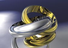 Gold and Silver Wedding Bands Stock Photos