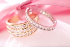 Gold and silver wedding rings Stock Images