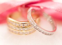 Gold and silver wedding rings Stock Photo
