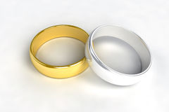 Gold silver wedding rings. Wedding rings gold silver love Royalty Free Stock Photo