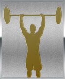 Gold on Silver Weightlifting Sport Emblem Royalty Free Stock Photos