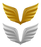 Gold and silver wing. On a white background Royalty Free Stock Photography