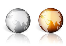 Gold silver world globe Stock Photo