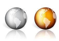 Gold silver world globe Royalty Free Stock Photos