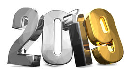 2019 gold silver year number 3d render. Illustration graphic Royalty Free Stock Image