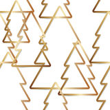Gold simple outline trees - seamless background Royalty Free Stock Photography