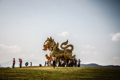 Gold singha Statue at Boon Rawd Farm Stock Photos
