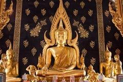 Gold sit buddha inside thai temple  Royalty Free Stock Photos