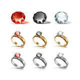 Gold Siver Engagement Rings Red Black and White Diamonds Royalty Free Stock Photo