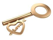 Gold skeleton key with heart shape. Isolated on white background 3d rende stock illustration
