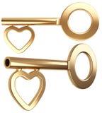 Gold skeleton key with heart shape. Isolated on white background 3d render stock illustration