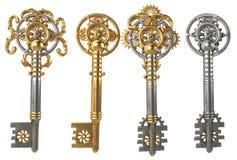 Gold Skeleton Key isolated on white background. 3d illustration Stock Photo