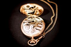 Gold Skeleton Pocketwatch Royalty Free Stock Photo